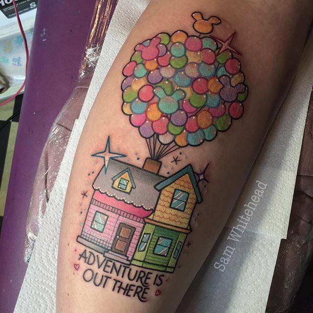 Up tattoo by Sam Whitehead. #SamWhitehead #girly #cute #up #disney