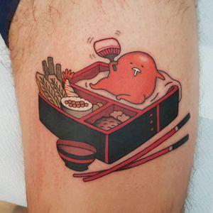 Gudetama Bento Box tattoo by Rion #Rion #besttattoos #color #Japanese #newtraditional #mashup #Gudetama #egg #yolk #foodtattoo #bentobox #chopsticks #cute #Sanrio #sushi #tattoooftheday