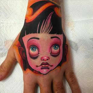 Cool hand tattoo by Logan #Logan #BarracudaTattoo #newschool #handtattoo