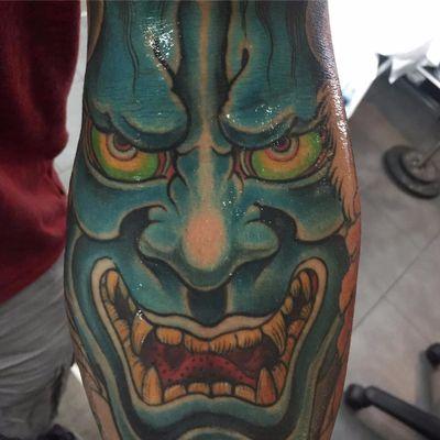 Oni by Ami James #AmiJames #Japanese #newtraditional #mashup #color #Oni #onimask #demon #face #portrait #tattoooftheday