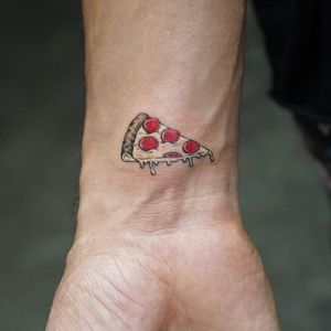 Pizza tattoo by Mr K #MrK #foodtattoos #color #realism #realistic #newtraditional #mashup #pepperoni #pepperonipizza #pizza #cheese #Italian #tattoooftheday