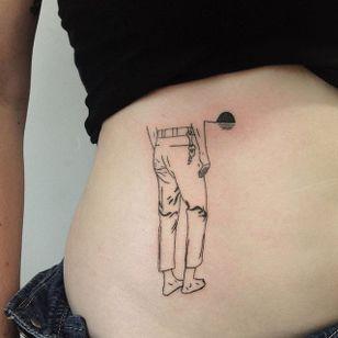 Jeans tattoo by René O'Donnell-Gibson. #ReneODonnelGibson #rene #linework #folktraditional #jeans
