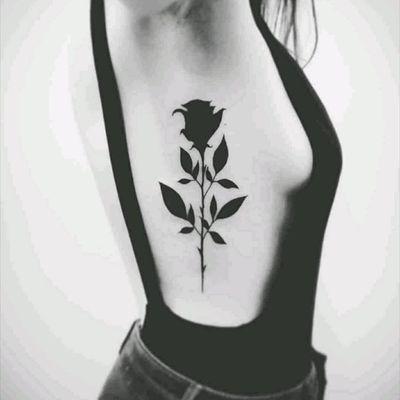 Rose silhouette #rosetattoo#longstemmedrose #flower #flowertattoo