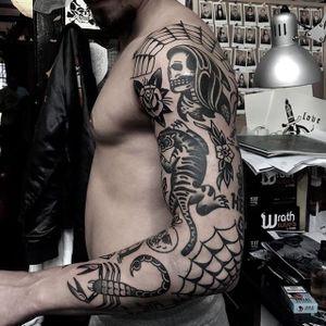 Blackwork tattoo sleeve by Matty D'Arienzo. #MattyDArienzo #blackwork #traditional #scorpion #web #cobweb #spiderweb #tiger #grimreaper #rose