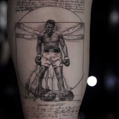 Ali X Vitruvian Man by Niki Norberg #niki23gtr #nikinorberg #blackwork #blackandgrey #MuhammadAli #LeonardodaVinci #portrait #realism #realistic #text #script #geometric #sports #boxing #illustration