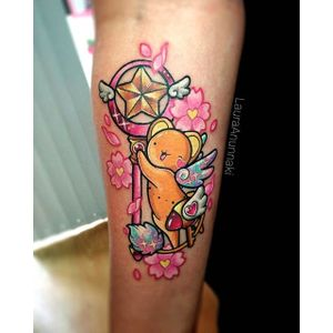 Keroberos tattoo by Laura Anunnaki. #LauraAnunnaki #magicalgirl #grlpwr #girlpower #magic #feminist #anime #anime #sparkly #girly #kawaii #cardcaptorsakura #mascot #keroberos