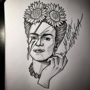 Frida tributing Bowie. (via IG - daniel_kickflip_tattooer) #Portraits #Celebrities #Flash #Frida