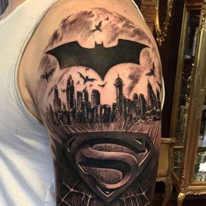 Superman tattoo, artist unknown. #superhero #superman