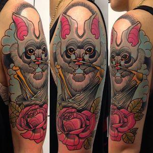 Bat tattoo by Piotr Gie #PiotrGie #graphic #bat #rose