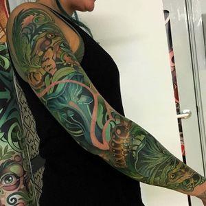Swamp themed sleeve, by Joe Frost. (via IG—hellomynamesjoe) #neotraditional #sleeve #joefrost #colorbomb