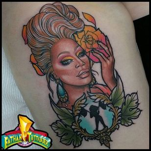 Nice tattoo by Eathan Langford #RuPaul #EathanLangford #dragqueen #neotraditional