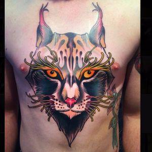 Lynx Tattoo by Chris Veness #lynx #lynxtattoo #neotraditional #neotraditionaltattoo #neotraditionaltattoos #neotraditionalanimal #animaltattoos #ChrisVeness