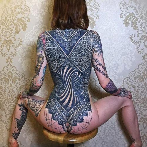 Tattoos by Glenn Cuzen, on Jade Cuzen #GlennCuzen #JadeCuzen #bodysuit #geometric #mandala #blackwork (Photo from Glenn's Instagram)
