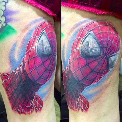 Spider-Man by Chris Jones (via IG -- chrisjonestattoos) #christjones #spiderman #spidermantattoo