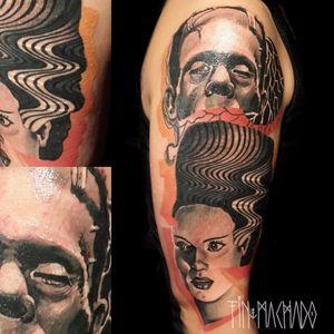 Família Monstro #TinMachado #gringo #graphic #grafico #neotraditional #colagem #collage #monstro #monster #frankenstein #woman #mulher #thebrideoffrankrnstein #anoivadofrankenstein #movie #film #terror #horror