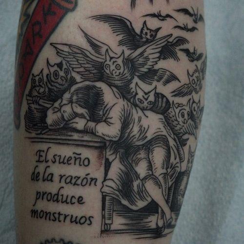 Tattoo by Franco Maldonado #FrancoMaldonado #blackandgrey #illustrative #newtraditional #darkart #surreal #linework #etching #Goya #FranciscoGoya #demons #owls #monsters #text #quote