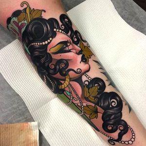 Side view girl head tattoo by Emily Rose Murray. #emilyrosemurray #neotraditional #girlhead