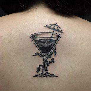 Tropical martini glass (IG-@dan_tattoo_o) #blackwork #dotwork #cattattoo #linework #southkorea #southkoreantattooartist #southkorean #martiniglass #treetattoo #surrealism