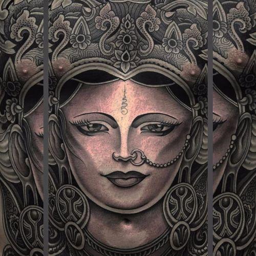 Hindu Goddess Portrait by Jondix #Jondix #blackandgrey #portrait #ladyhead #bodysuit #Shiva #Hindu #deity #goddess #god #jewelry #ornamental #pattern #unalome #lotus #flowers #geometric #lady #tattoooftheday