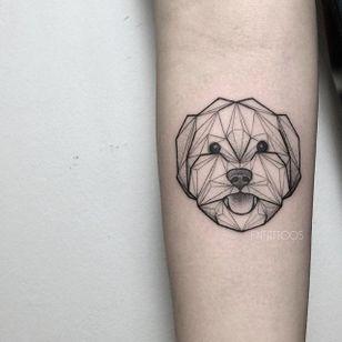 Dog tattoo by Fin T. #FinT #malaysia #geometric #animal #origami #pointillism #dotwork #dog #pet
