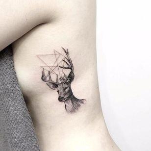 Geometry inspired delicate deer by tattooist_flower #delicate #linework #blackwork #deer #geometry #geometric #btattooing