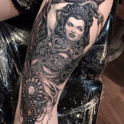 Lovely lady by Ryan Ashley Malarkey #ryanashleymalarkey #neotraditional #blackandgrey #portrait #realism #realistic #ornamental #jewelry #jewels #gems #pearls #chain #diamon #crown #lady #feather #tattoooftheday