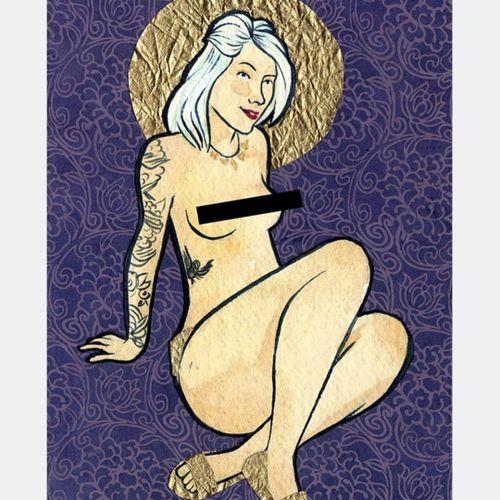 2010 collage/painting of Thistle Suicide by Erika Moen (IG— fuckyeaherikamoen). #comics #ErikaMoen #fineart #sexeducation #sexpositive