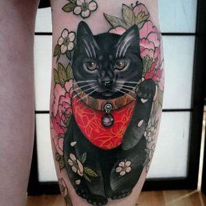 Neko tattoo by Lewis Buckley. #LewisBuckley #neko #cat #japanese #neotraditional #cherryblossom