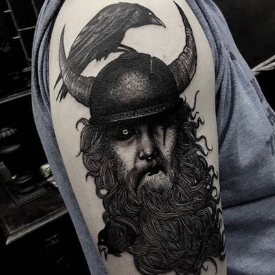 A foreboding blackwork depiction of Odin from Ryan Murray's portfolio (IG—ryanmrray). #AmericanGods #blackwork #Odin #RyanMurray