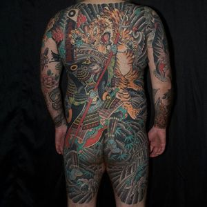Japanese full back by Kazuhisa Matsumoto #KazuhisaMatsumoto #japanese #traditional #color #tiger #samurai #tattoooftheday