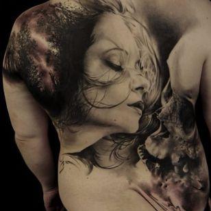 Intense tattoo by Florian Karg #Florian Karg #trashstyle #trashart #trash #trashpolka #realistic #dark #horror #graphic #deathandlife #portrait #skull