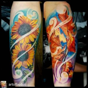 Vibrant Fall themed sunflower sleeve by Justin Buduo. #autumn #sunflower #flower #fall #JustinBuduo