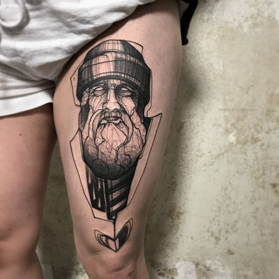 The Old Man and the Sea. Tattoo by Paulina Kemnitz #PaulinaKemnitz #sailortattoos #blackandgrey #illustrative #sketch #sailor #oldman #portrait #beard #raindrops #heart #seafarer #captain
