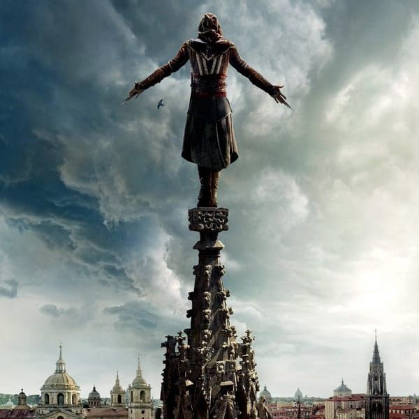 Pretty sure it's that fancy face tattoo he's got that lets him do this fancy balancing act. Pictured: art from the movie poster. #AssassinsCreed #MichaelFassbender #Hollywood #Movies