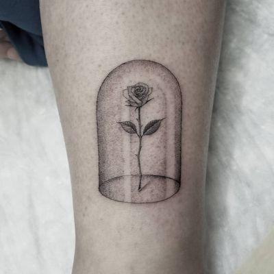The Beasts Rose tattoo by Hiten Damodar #HitenDamodar #blackandgrey #realism #realistic #oldschool #rose #flower #thorns #leaves #nature #glass #dome #crystal #beautyandthebeast #tattoooftheday