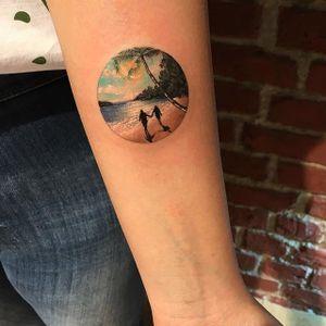 Beach tattoo by Eva Krbdk. #EvaKrbdk #Eva #beach #summer #paradise #ocean #vacation #getaway #couple