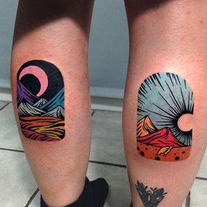 Linocut Landscape Tattoo by Eugene Nedelko #linocut #linocutlandscape #landscape #print #mountain #sun #moon #EugeneNedelko