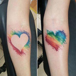 Couples' tattoo! (via IG—tattoo_leah) #PrideTattoo #PrideFlag #LGBT #Equality #Rainbow #RainbowTattoo