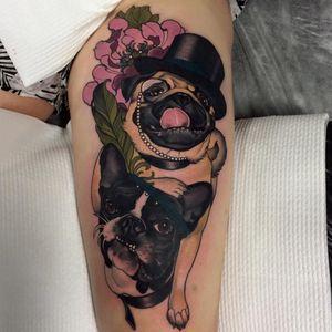 Sweet dogs by Emily Rose #EmilyRose #neotraditional #masterpiece #dog #pug #pugs #dogs #animal #emilyrosemurray