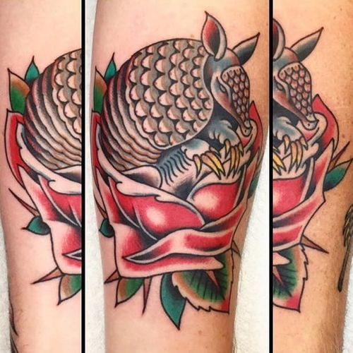 Armadillo and red rose tattoo by Brandon Huckabey. #rose #redrose #armadillo #traditional #BrandonHuckabey