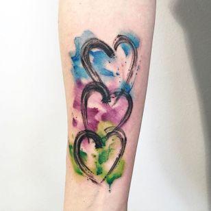 Brushstroke watercolor hearts tattoo by Sandro Stagnitta. #sketch #watercolor #SandroStagnitta #brushstroke #heart