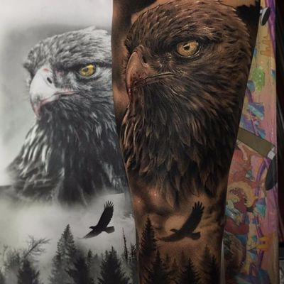 Legacy of an Eagle by Fred Tattoo #FredTattoo #realism #realistic #hyperrealism #blackandgrey #redink #whiteink #eagle #baldeagle #bird #feathers #sky #forest #landscape #trees #nature #tattoooftheday