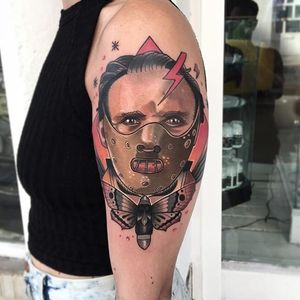 Hannibal Lecter a la The Silence of the Lambs by Roger Mares (IG—mares_tattooist). #HannibalLector #neotraditional #portraiture #RogerMares #TheSilenceoftheLambs