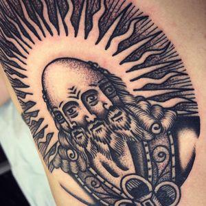 We see all. Tattoo by Tron aka Losing Shape. #losingshape #tron #trippytattoos #blackandgrey #traditional #illustrative #mashup #portrait #surreal #pattern #sun #engraving #wiseman #eyes