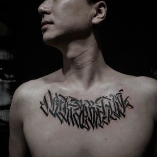 Chest Tattoo by Jiwoo Park @Psycollapse #JiwooPark #Psycollapse #Calligraphy #Graffiti #Calligraffiti #Calligraphytattoo #Graffititattoo #Seoul #Korea