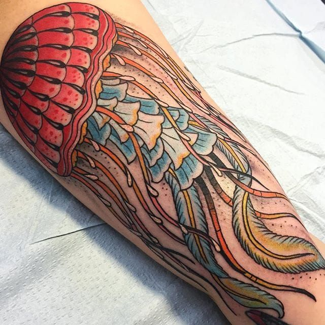 Truly outstanding banger by Brady—a man o' war in his intense style. #banger #BeauBrady #bold #manowar #americantraditional #jellyfish #ocean