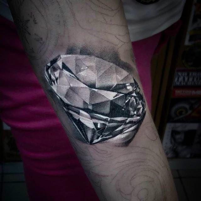 Realistic diamond tattoo on a sleeve in progress, tattoo by Anastasia Forman. #AnastasiaForman #realistic #blackandgray #diamond #jewelry