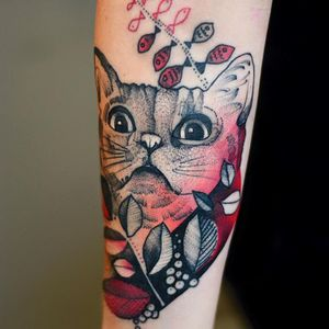 Fun cat tattoo by Dzo Lama #DzoLama #JoannaSwirska #graphic #cat #nature #abstract #psychedelic