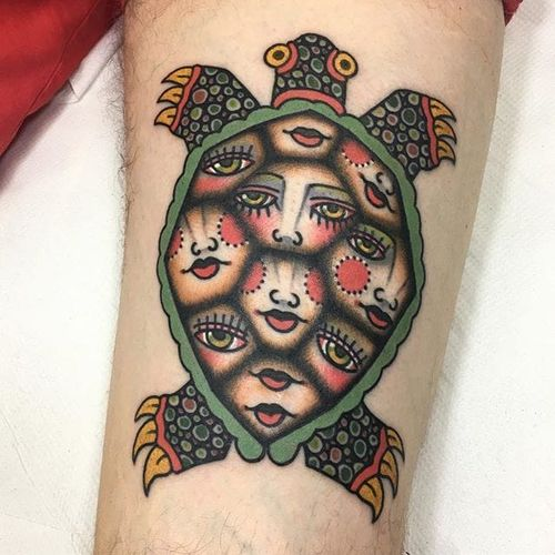 Kaleido-turtle made by Teide #Teide #traditional #turtle #color #lady #tattoooftheday