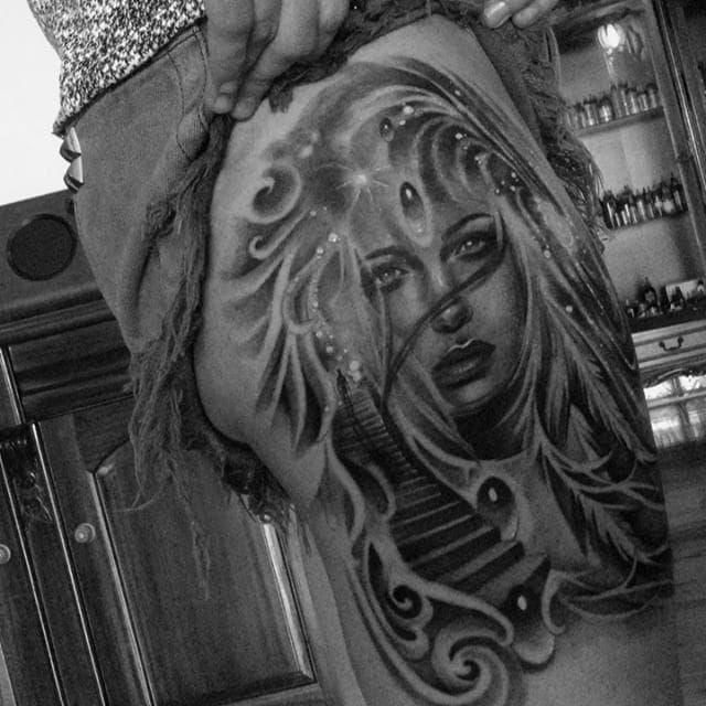 Galaxy woman black and grey tattoo by Karlee Sabrina. #realism #blackandgrey #galaxy #woman #stairs #KarleeSabrina